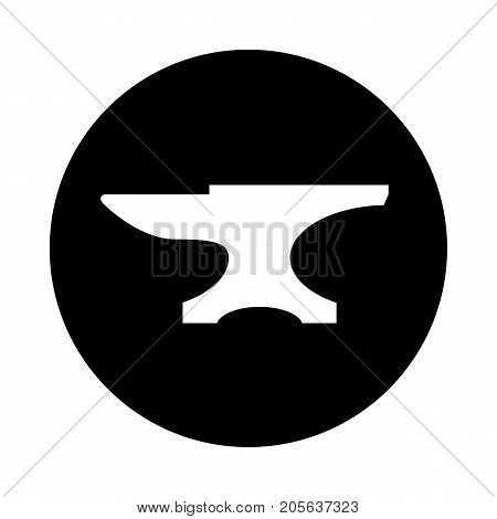 Anvil circle icon. Black round minimalist icon isolated on white background. Anvil simple silhouette. Web site page and mobile app design vector element. poster
