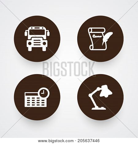 Collection Of Agreement, Schedule, Autobus And Other Elements.  Set Of 4 School Icons Set.