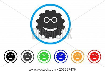 Clever Smiley Gear icon. Vector illustration style is a flat iconic clever smiley gear symbol with black, gray, green, blue, red, orange color variants. Designed for web and software interfaces.