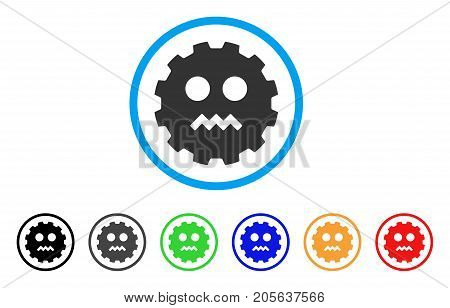 Evil Smiley Gear icon. Vector illustration style is a flat iconic evil smiley gear symbol with black, grey, green, blue, red, orange color variants. Designed for web and software interfaces.