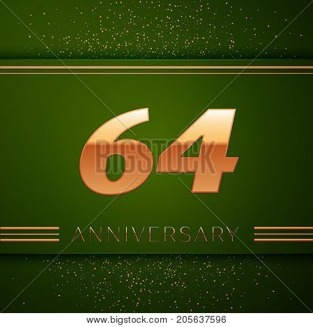 Realistic Sixty four Years Anniversary Celebration Logotype. Golden numbers and golden confetti on green background. Colorful Vector template elements for your birthday party