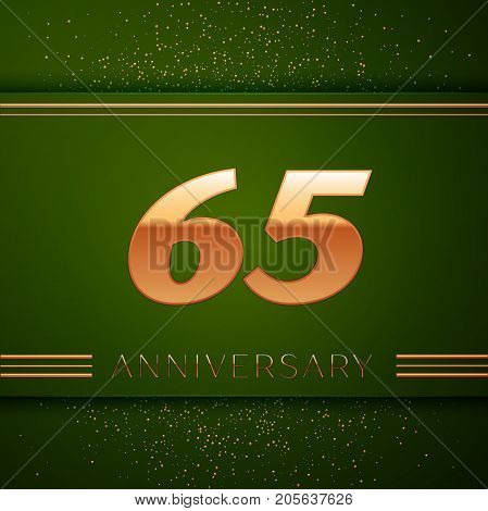 Realistic Sixty five Years Anniversary Celebration Logotype. Golden numbers and golden confetti on green background. Colorful Vector template elements for your birthday party