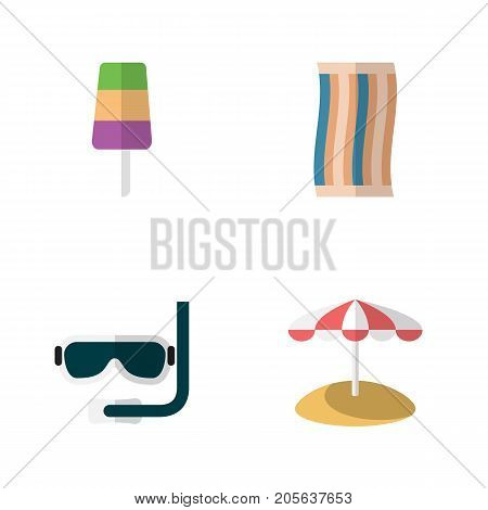 Flat Icon Season Set Of Sundae, Wiper, Scuba Diving And Other Vector Objects