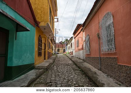January 11, 2015 Flores, Guatemala: Cobblestone Street On The Small Tourist Destination Island