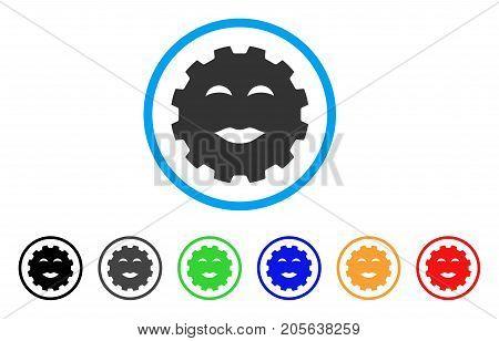 Lady Pleasure Smiley Gear icon. Vector illustration style is a flat iconic lady pleasure smiley gear symbol with black, grey, green, blue, red, orange color versions.