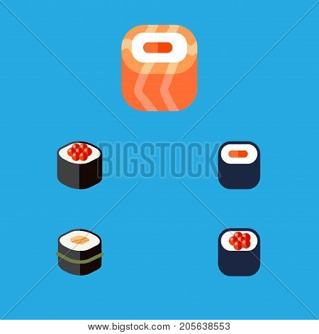 Flat Icon Salmon Set Of Sushi, Japanese Food, Maki And Other Vector Objects