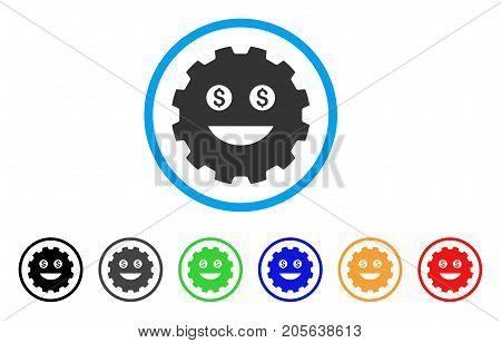 Lucky Smiley Gear icon. Vector illustration style is a flat iconic lucky smiley gear symbol with black, grey, green, blue, red, orange color additional versions.
