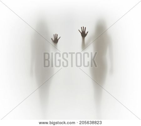 Two beautiful and sexy woman silhouettes, hands, fingers, body parts