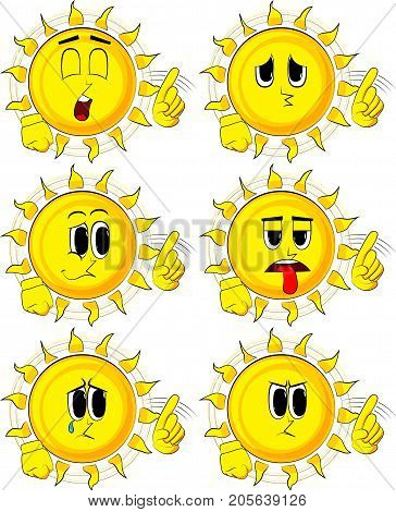 Cartoon sun with hands in rocker pose. Collection with sad faces. Expressions vector set.