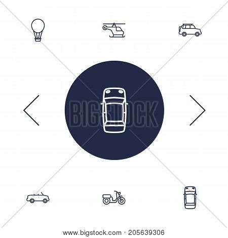 Collection Of Helicopter, Moped, Air Balloon And Other Elements.  Set Of 6 Shipping Outline Icons Set.