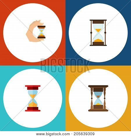 Flat Icon Sandglass Set Of Loading, Measurement, Minute Measuring And Other Vector Objects