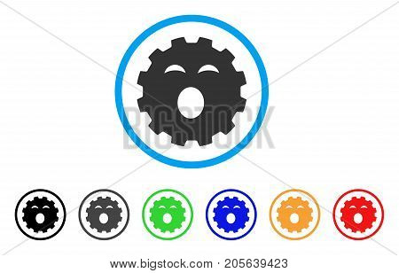 Sleepy Smiley Gear icon. Vector illustration style is a flat iconic sleepy smiley gear symbol with black, grey, green, blue, red, orange color additional versions.