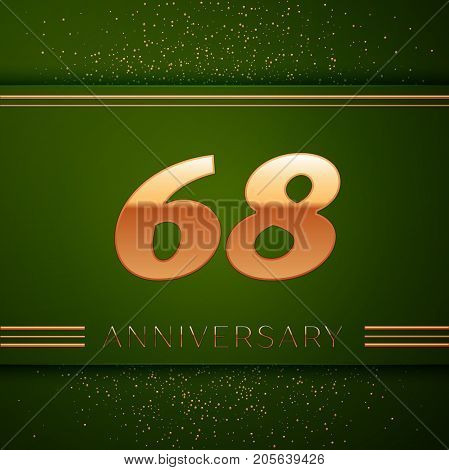 Realistic Sixty eight Years Anniversary Celebration Logotype. Golden numbers and golden confetti on green background. Colorful Vector template elements for your birthday party