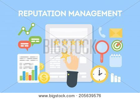 Reputation management concept illustration. Idea of rating, ranking and comments.
