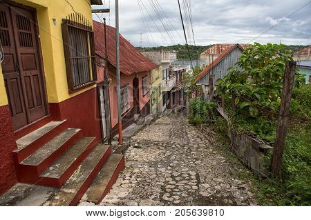 January 11 2015 Flores Guatemala: cobblestone street on the small tourist destination island