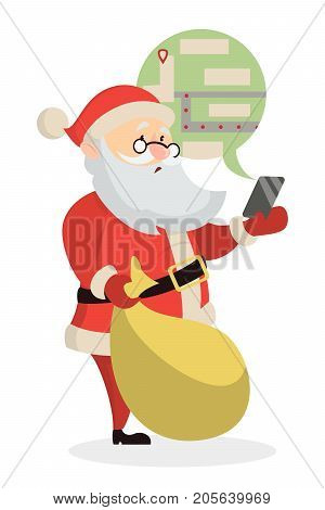 Isolated puzzled Santa Claus with GPS navigator in smartphone on white background.