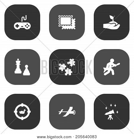Collection Of Target, Joystick, Checkmate And Other Elements.  Set Of 9 Entertainment Icons Set.