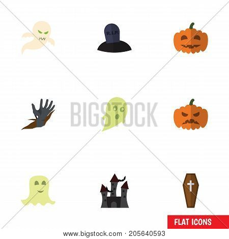 Flat Icon Halloween Set Of Zombie, Ghost, Fortress And Other Vector Objects