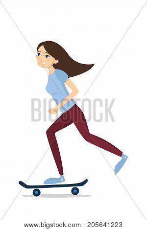 Isolated skateboarding girl. Illustration of girl with skateboard.