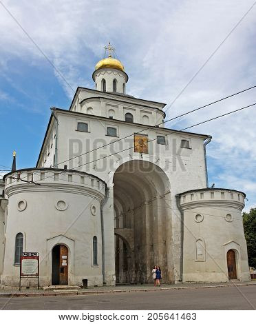 Vladimir Russia - 16 July 2017: Golden Gate of Vladimir constructed between 1158 and 1164 is the only preserved ancient Russian city gate