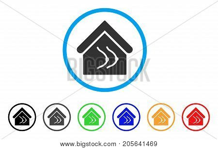 Erotics House rounded icon. Style is a flat erotics house gray symbol inside light blue circle with black, gray, green, blue, red, orange variants. Vector designed for web and software interfaces.