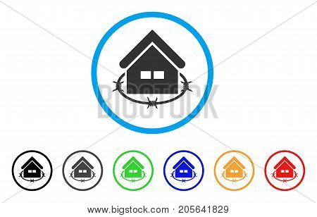 Prison Building rounded icon. Style is a flat prison building grey symbol inside light blue circle with black, gray, green, blue, red, orange variants. Vector designed for web and software interfaces.