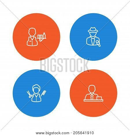 Collection Of Servant, Manager, Reporter And Other Elements.  Set Of 4 Job Outline Icons Set.