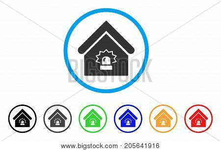 Realty Alarm rounded icon. Style is a flat realty alarm gray symbol inside light blue circle with black, gray, green, blue, red, orange color versions. Vector designed for web and software interfaces.