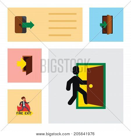 Flat Icon Emergency Set Of Entrance, Emergency, Directional And Other Vector Objects