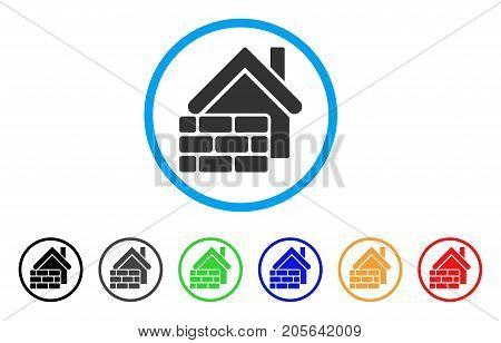 Realty Brick Wall rounded icon. Style is a flat realty brick wall gray symbol inside light blue circle with black, gray, green, blue, red, orange versions.