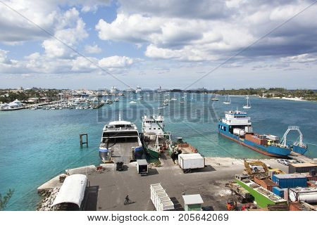 The view of Nassau city on New Providence Island the industrial island Potters Cay and the resort island Paradise Island (Bahamas).