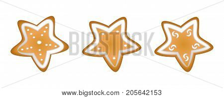 Gingerbread cookies with a glaze. Homemade pastries with spices. Isolated on white background without shadow. A set of Christmas cookies. Christmas star.