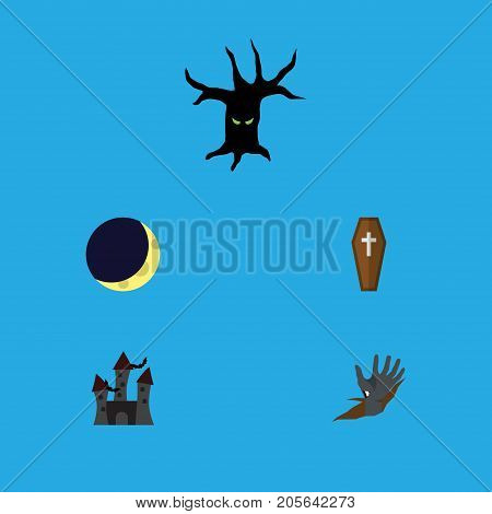Flat Icon Celebrate Set Of Terrible Halloween, Casket, Crescent And Other Vector Objects