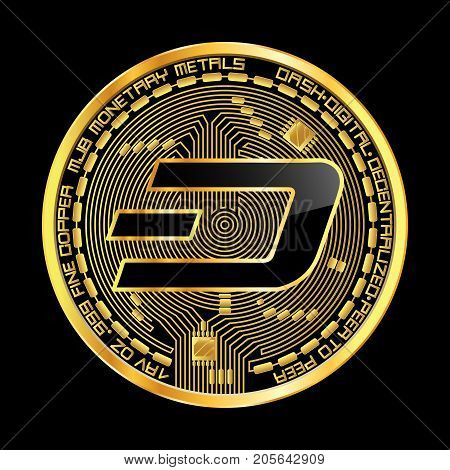 Crypto currency golden coin with black lackered dash symbol on obverse isolated on black background. Vector illustration. Use for logos, print products, page and web decor or other design.