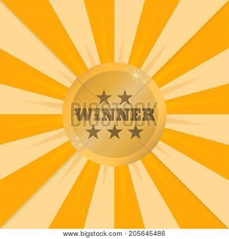 Winner golden medal. Shiny winner medal on background of rays of light. Vector illustration