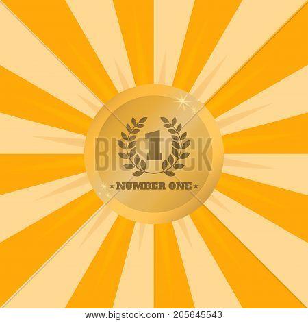 Number one. Winner golden medal. Shiny winner medal on background of rays of light. Vector illustration