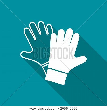 Vector protective gloves pair icon long shadow design