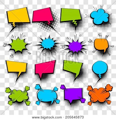 16 Big set picture blank template pop art style comic text speech bubble halftone dot background. Comics book dialog empty cloud space cartoon box pop-art. Creative idea conversation sketch explosion
