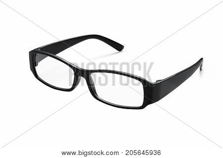 Black glasses isolated on white background (Clipping path included) to aid vision