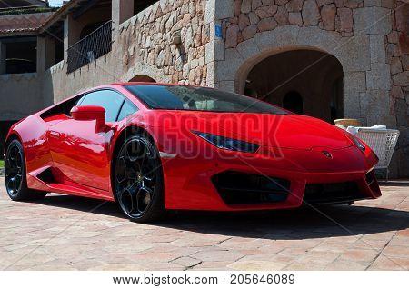 Porto Cervo, Italy - June 19, 2017:  Lamborghini Huracan