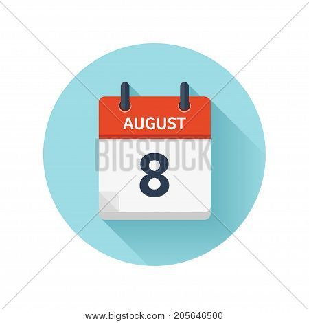August 8. Vector flat daily calendar icon. Date and time, day, month 2018. Holiday. Season.