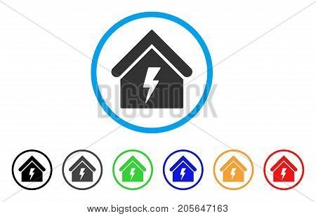 Building Electricity rounded icon. Style is a flat building electricity gray symbol inside light blue circle with black, gray, green, blue, red, orange versions.