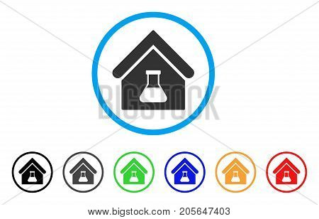Chemical Labs Building rounded icon. Style is a flat chemical labs building grey symbol inside light blue circle with black, gray, green, blue, red, orange variants.
