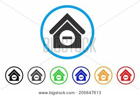 Deduct Building rounded icon. Style is a flat deduct building gray symbol inside light blue circle with black, gray, green, blue, red, orange versions. Vector designed for web and software interfaces.