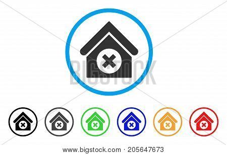 Delete Building rounded icon. Style is a flat delete building grey symbol inside light blue circle with black, gray, green, blue, red, orange variants. Vector designed for web and software interfaces.
