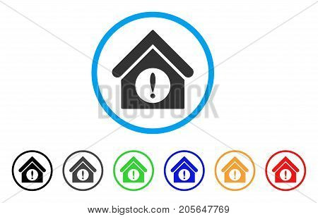Exclamation Building rounded icon. Style is a flat exclamation building grey symbol inside light blue circle with black, gray, green, blue, red, orange variants.