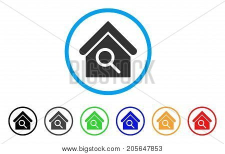 Find Building rounded icon. Style is a flat find building grey symbol inside light blue circle with black, gray, green, blue, red, orange versions. Vector designed for web and software interfaces.