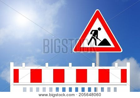 Construction Barrier with Sign and blue sky