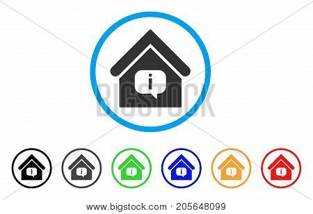 Hint Building rounded icon. Style is a flat hint building grey symbol inside light blue circle with black, gray, green, blue, red, orange versions. Vector designed for web and software interfaces.