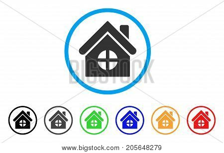 House Building rounded icon. Style is a flat house building gray symbol inside light blue circle with black, gray, green, blue, red, orange color versions.